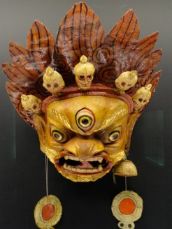 Masks are worn by monks as they interact with the spiritual world.
